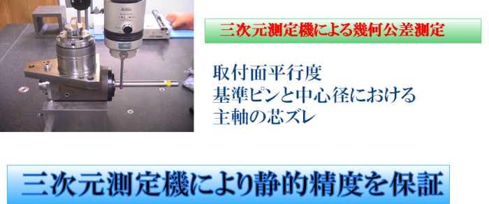 三次元測定機による幾何公差測定 取付面平行度 基準ピンと中心径における 主軸の芯ズレ  三次元測定機により静的精度を保証