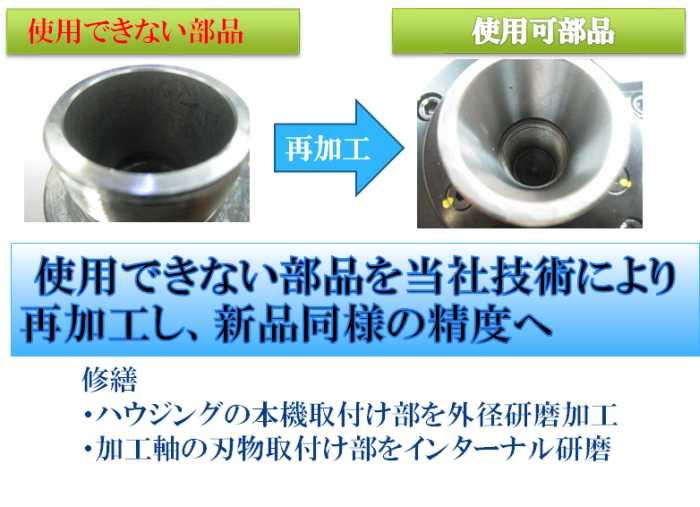 使用できない部品を当社技術により 再加工し、新品同様の精度へ 修繕  ・ハウジングの本機取付け部を外径研磨加工  ・加工軸の刃物取付け部をインターナル研磨